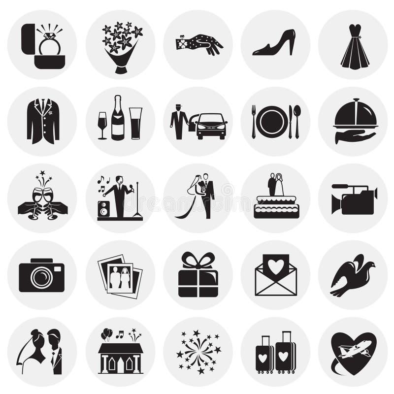 Huwelijkspictogrammen op cirkelsachtergrond worden geplaatst voor grafisch en Webontwerp, Modern eenvoudig vectorteken dat Het co vector illustratie