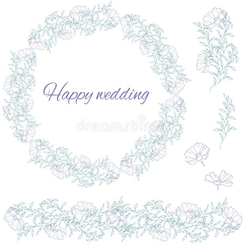 Huwelijksreeks bloemen van de contourlente op een witte achtergrond Bloemkroon Een inzameling van hand-drawn madeliefjes stock illustratie