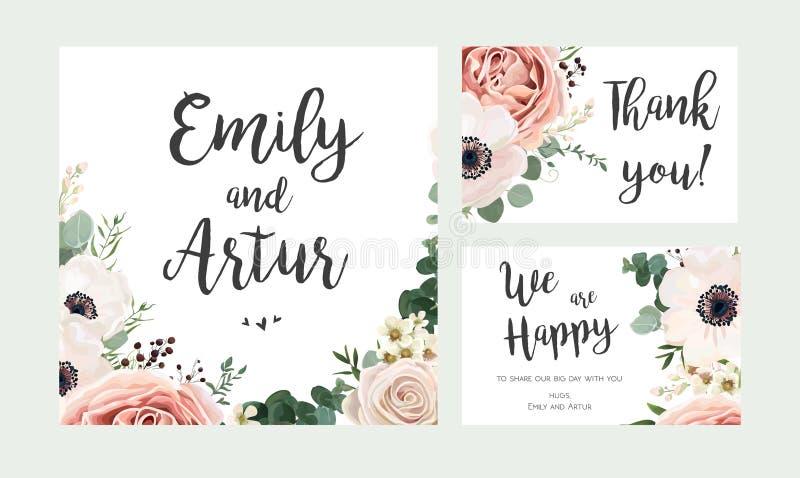 Huwelijksuitnodiging, de bloemen nodigt kaart vectorontwerp uit: tuin lav vector illustratie