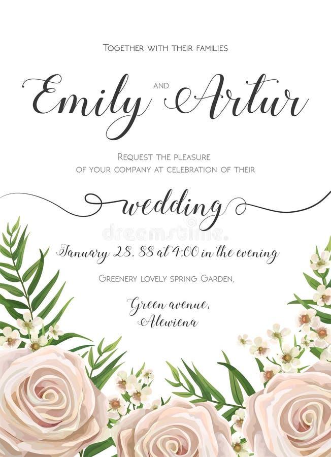 Huwelijksuitnodiging, de bloemen nodigt kaartontwerp met romig wit uit royalty-vrije illustratie