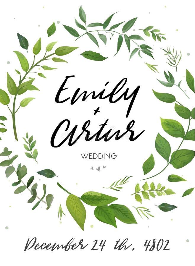 Huwelijksuitnodiging, de bloemen nodigt kaartontwerp uit: groene varenbladeren royalty-vrije illustratie