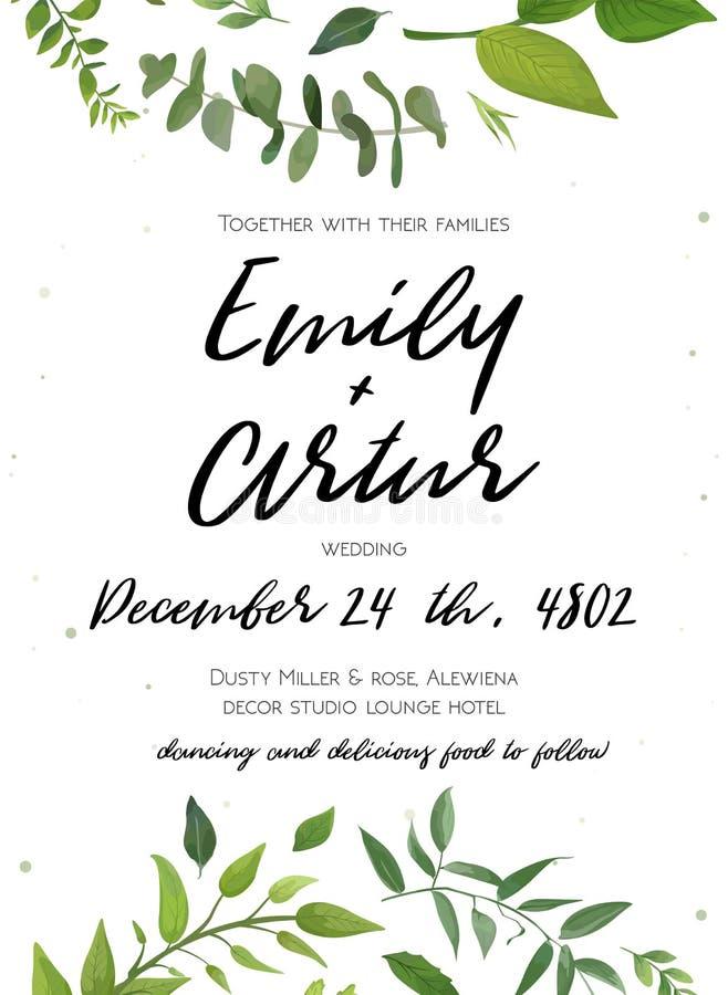 Huwelijksuitnodiging, de bloemen nodigt kaartontwerp uit: groene varenbladeren stock illustratie