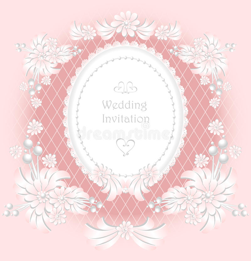 Huwelijksuitnodiging of gelukwens met parels F vector illustratie