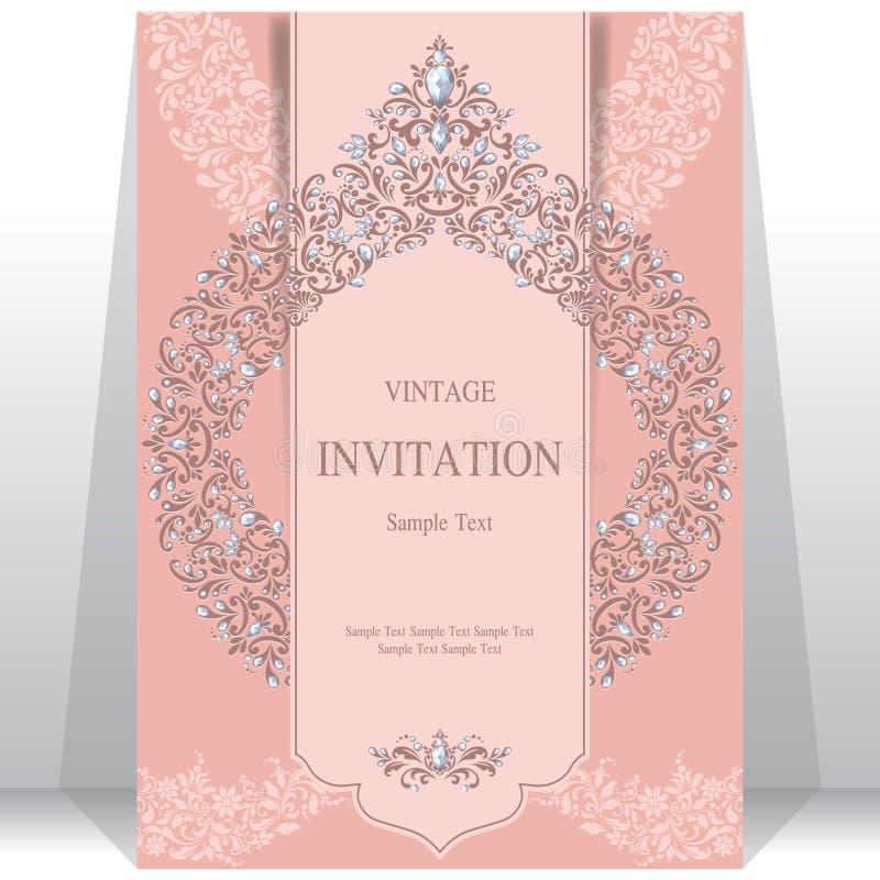 Huwelijksuitnodiging of kaart met abstracte achtergrond royalty-vrije illustratie