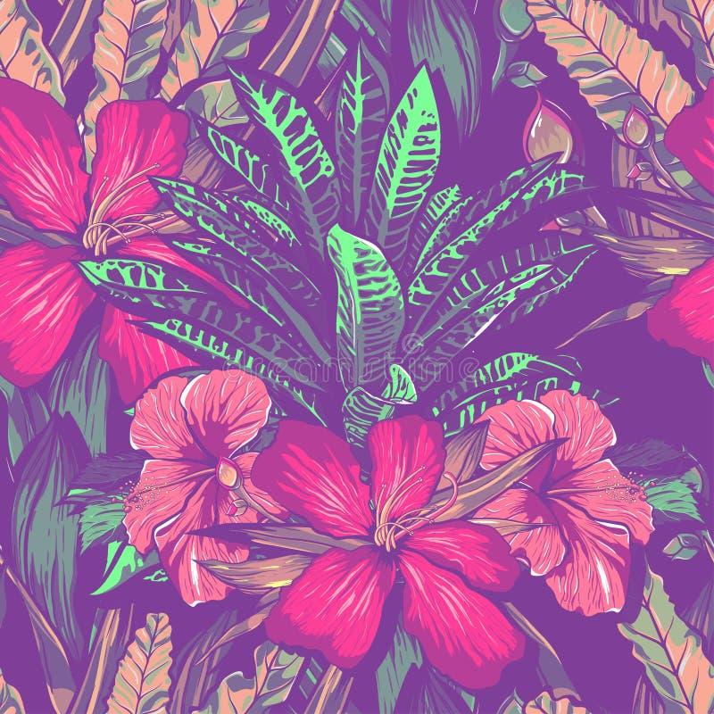 Huwelijksuitnodiging of kaartontwerp met exotische tropische bloemen en bladeren Vector royalty-vrije illustratie