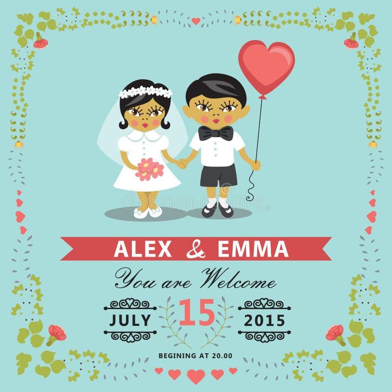 Huwelijksuitnodiging met Aziatische babybruid, bruidegom, bloemenkader EPS stock illustratie