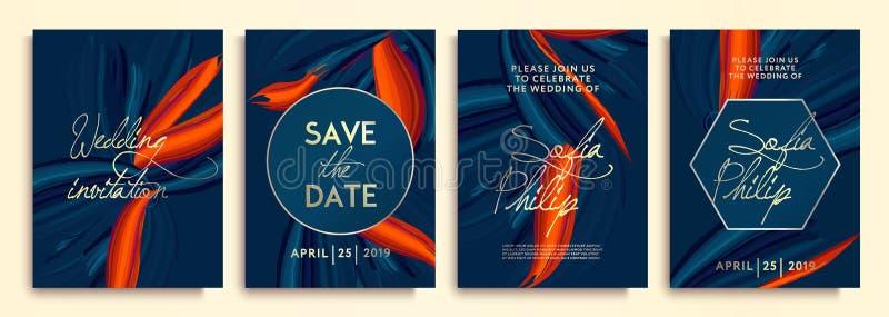 Huwelijksuitnodiging met blauwe bloemen op gouden textuur De uitnodigingskader van het luxehuwelijk setn stock illustratie
