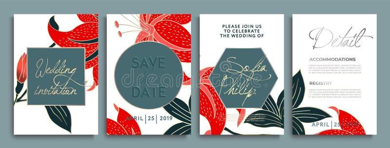 Huwelijksuitnodiging met bloemen en bladeren op gouden, donkere textuur luxekaart op gouden achtergronden, artistiek dekkingsontw stock illustratie