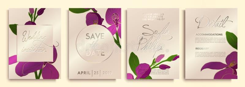Huwelijksuitnodiging met bloemen en bladeren op gouden, roze textuur luxekaart op gouden achtergronden, artistiek dekkingsontwerp royalty-vrije illustratie