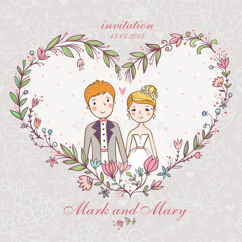 Huwelijksuitnodiging met bruid, bruidegom, bloem. vector illustratie