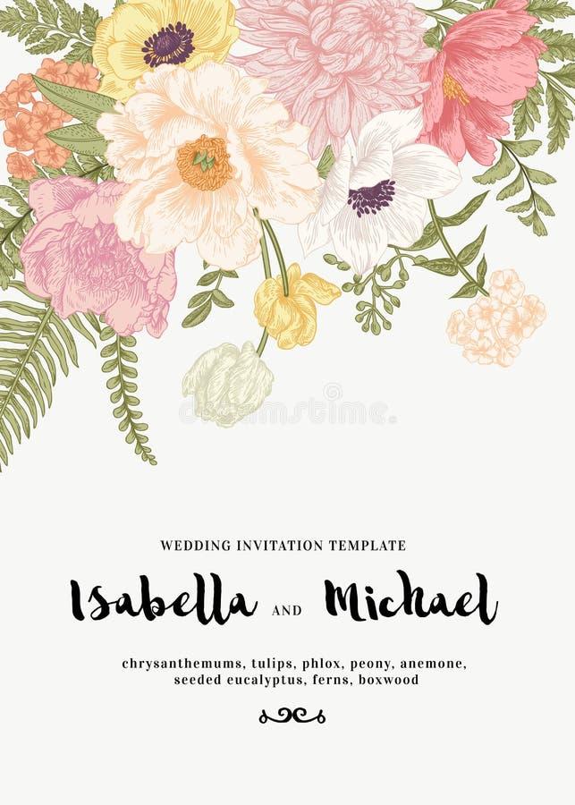 Huwelijksuitnodiging met de zomerbloemen royalty-vrije illustratie