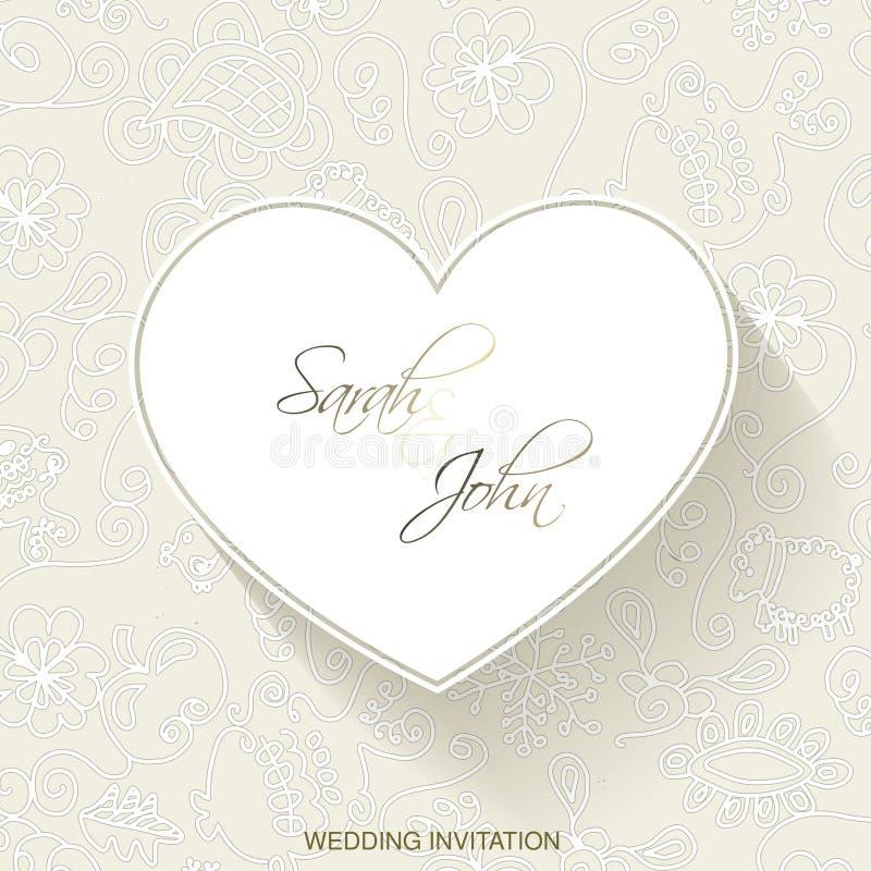 Huwelijksuitnodiging met Hart Uitstekend Frame Overladen element voor ontwerp Luxedecor Plaats voor tekst Wit kader op het beige  vector illustratie