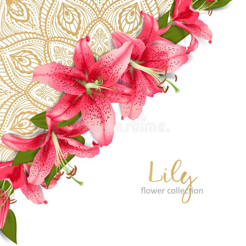 Huwelijksuitnodiging met leliebloemen stock illustratie