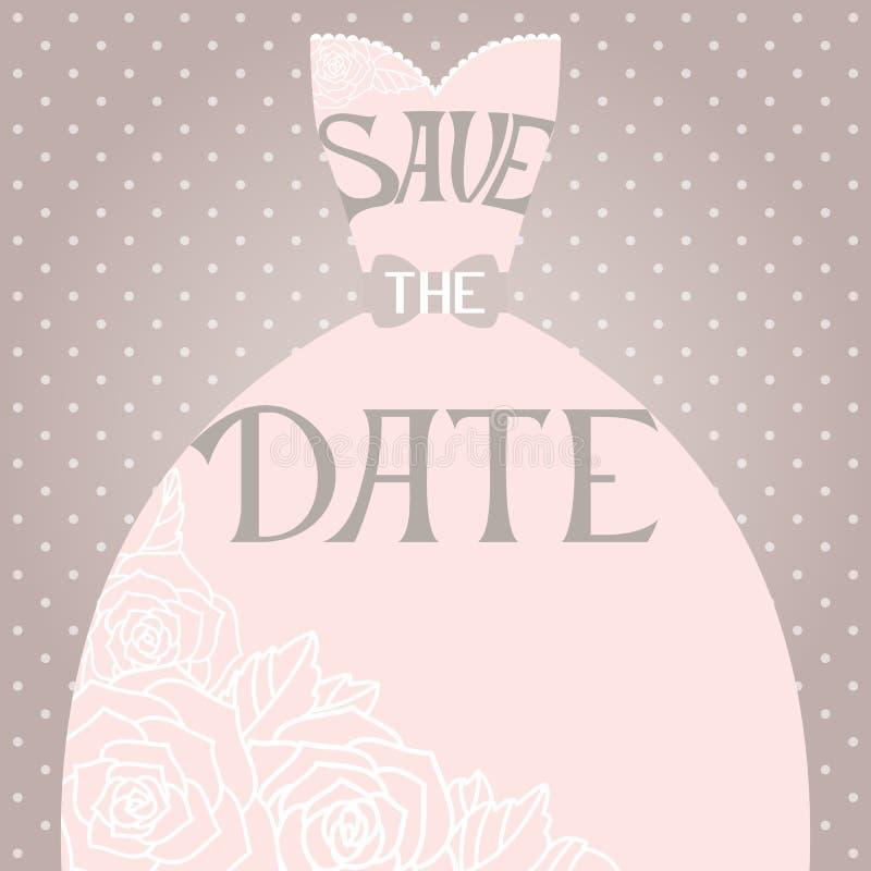 Huwelijksuitnodiging met mooie elegante huwelijkskleding vector illustratie