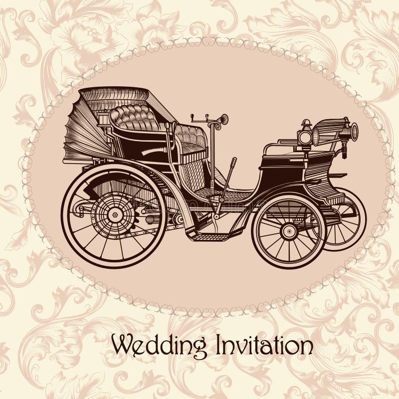 Huwelijksuitnodiging met uitstekend naadloos vectorpatroon vector illustratie
