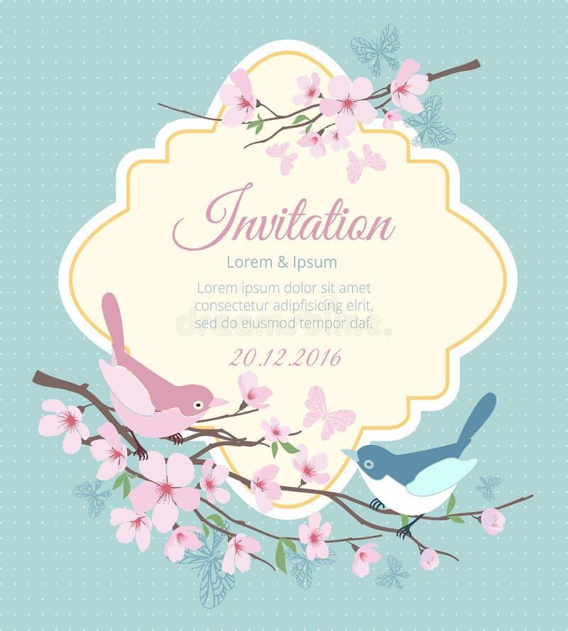 Huwelijksuitnodiging met vogels en het bloeien royalty-vrije illustratie
