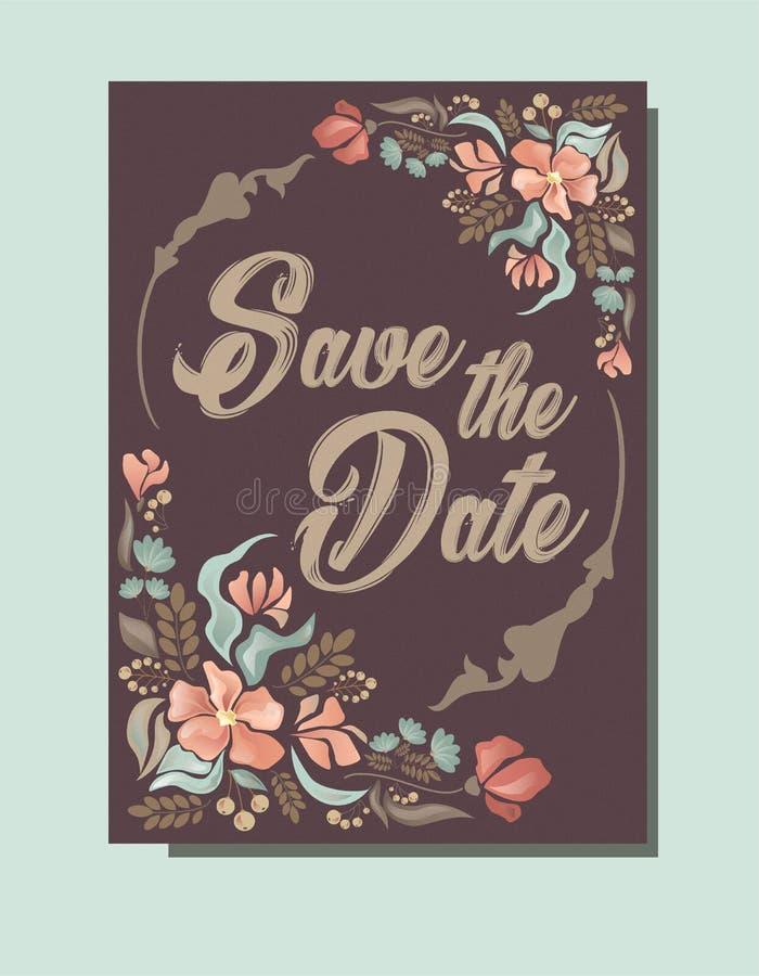 Huwelijksuitnodiging, sparen de Datumkaart royalty-vrije illustratie