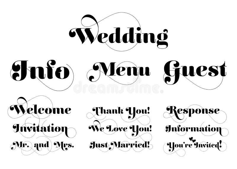 Huwelijksuitnodiging Word Vectorkalligrafie met Swash royalty-vrije illustratie