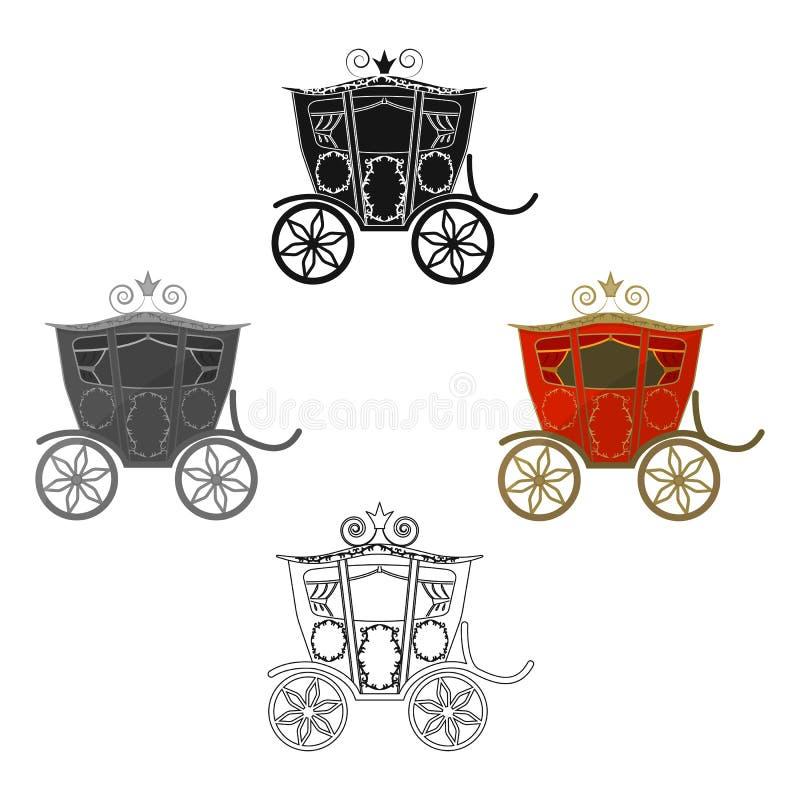 Huwelijksvervoer Een vervoer voor de bruid en de bruidegom Huwelijks enig pictogram in beeldverhaal, de zwarte voorraad van het s vector illustratie