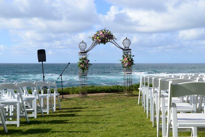 Huwelijksviering bij het strand royalty-vrije stock foto