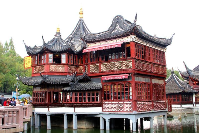Huxinting茶屋,上海,中国最旧的茶屋  库存图片