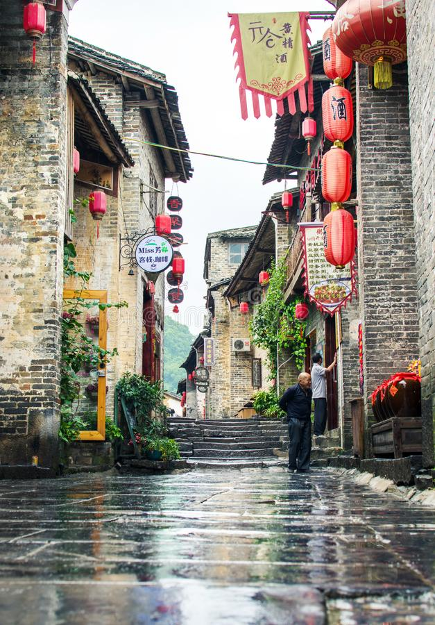 HUZHOU, CHINA - MAY 3, 2017: Huang Yao Ancient Town in Zhaoping stock photo