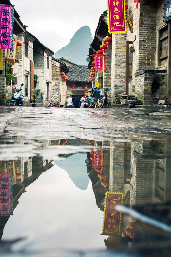 HUZHOU, CHINA - MAY 3, 2017: Huang Yao Ancient Town in Zhaoping stock photos