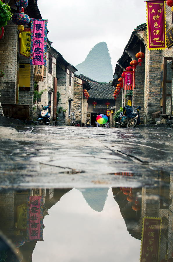 HUZHOU, CHINA - MAY 3, 2017: Huang Yao Ancient Town in Zhaoping stock image