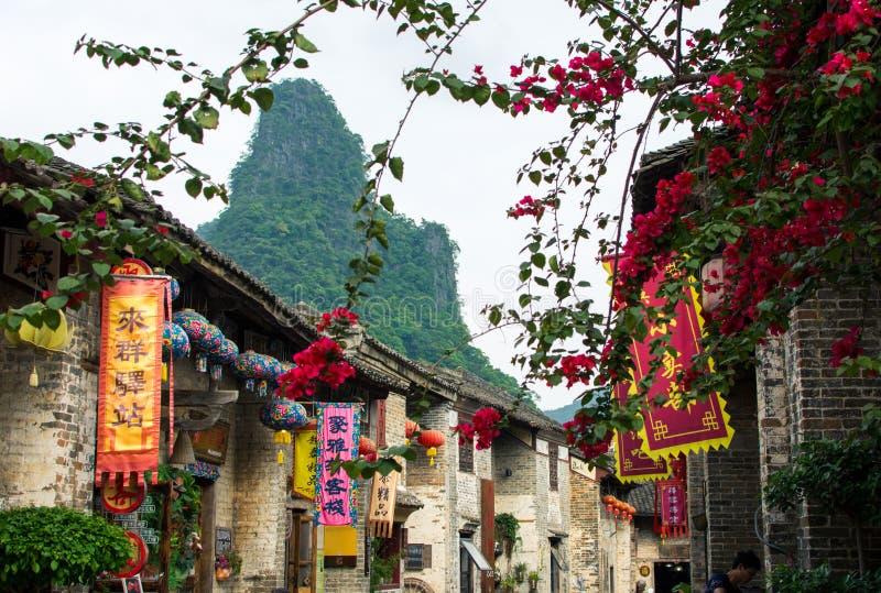 HUZHOU KINA - MAJ 2, 2017: Huang Yao Ancient Town i Zhaoping arkivfoton
