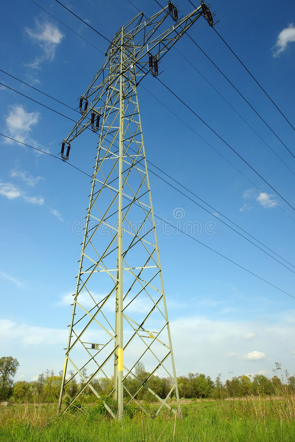 HV pylon stock photo