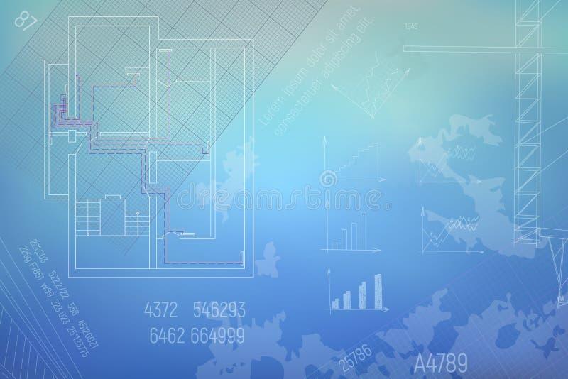 HVAC工程图 一部分的技术草稿传染媒介例证 库存例证