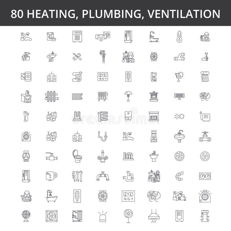 Hvac, топление, кондиционер, вентиляция, обслуживание трубопровода, боилер, домашний проводник, инженерство, линия радиатора бесплатная иллюстрация