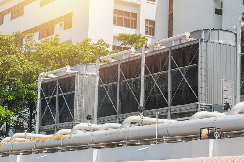 HVAC Air Chillers on Rooftop Units of Air Conditioner. For Large Industry Air Cooling system stock photo