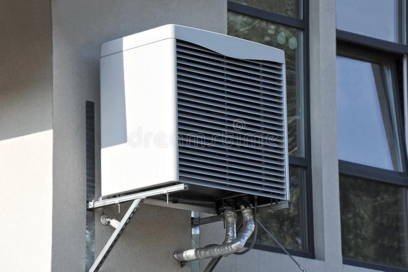 Air conditioner system on wall. HVAC air conditioning and ventilation systems on wall royalty free stock photo