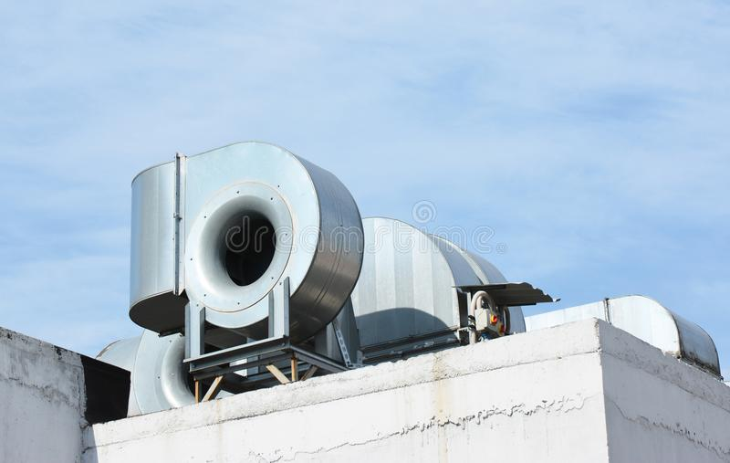 HVAC as Heating Ventilating Air Conditioning. AC-heater. Industrial air conditioning and ventilation systems. stock images