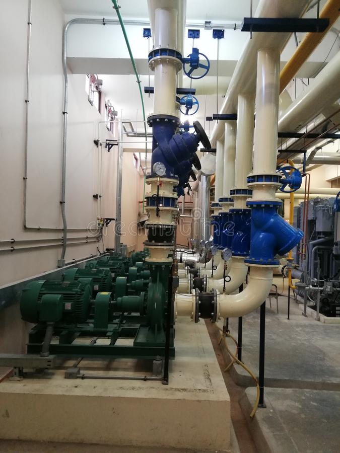 HVAC Centrifugal Pumps and Valves. Industrial Centrifugal Pumps installed at the HVAC Plant Room of Burns and Plastic Surgery Center at Peshawar Pakistan royalty free stock photography