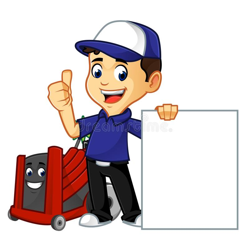 Hvac Cleaner or technician hold blank sign. Cartoon illustration, can be download in vector format for unlimited image size stock illustration