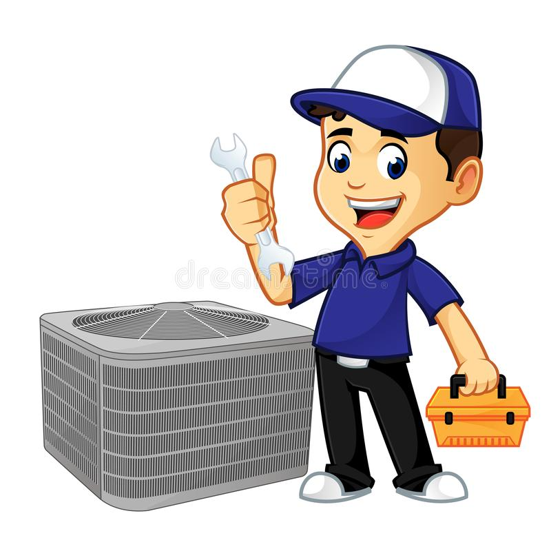 Hvac Cleaner or technician hold wrench and toolbox royalty free illustration