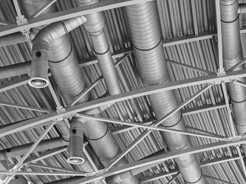 Hvac duct air conditioner ventilation pipes system. Ventilating construction stock photos