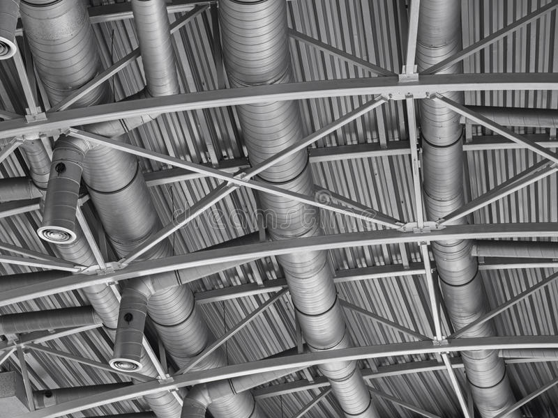 Hvac duct air conditioner ventilation pipes system. Ventilating construction royalty free stock photo