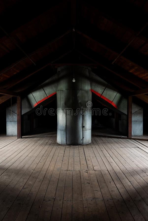 HVAC Duct Work - Abandoned Tewksbury State Hospital - Massachusetts. A view of vintage HVAC ducts inside an abandoned Tewksbury State Hospital building in stock images
