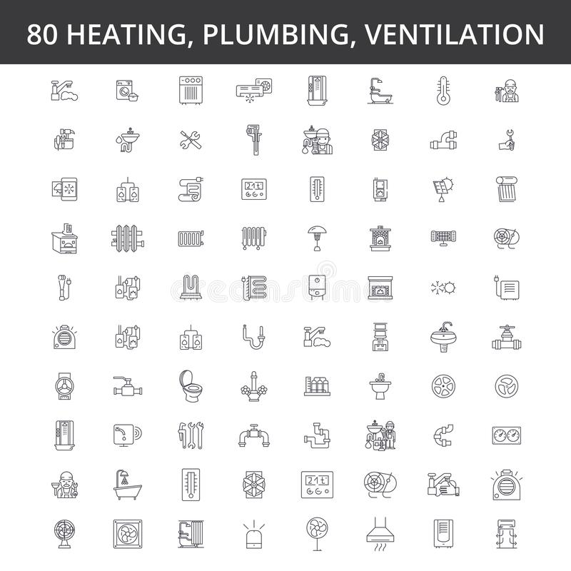 Hvac, heating, air conditioning, ventilation, plumbing service, boiler, home conditioner, engineering, radiator line royalty free illustration