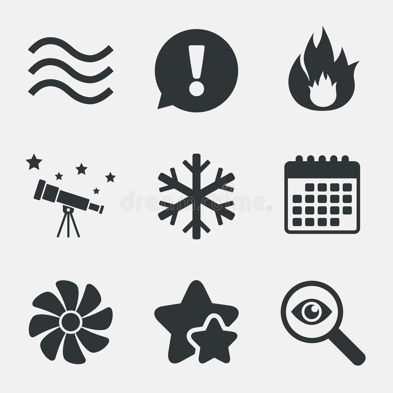 HVAC. Heating, ventilating and air conditioning. HVAC icons. Heating, ventilating and air conditioning symbols. Water supply. Climate control technology signs stock illustration