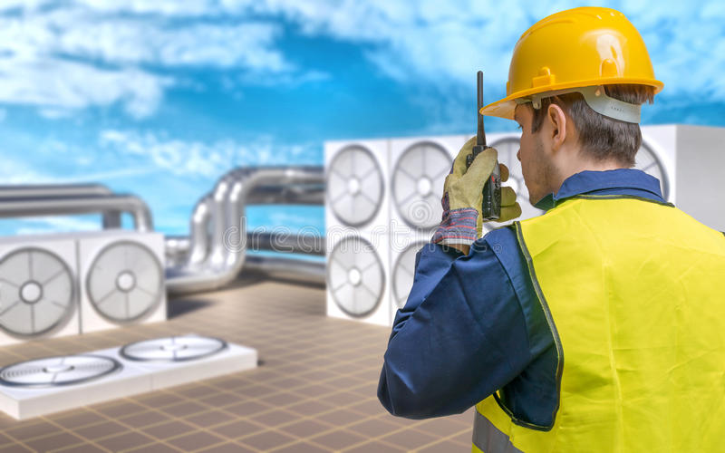 HVAC (Heating, Ventilating, Air Conditioning) maintenance concept. stock photo