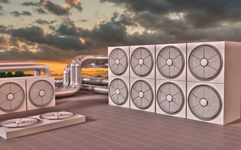 HVAC (Heating, Ventilating, Air Conditioning) units on roof. 3D illustration. HVAC (Heating, Ventilating, Air Conditioning) units on roof at sun set. 3D stock illustration
