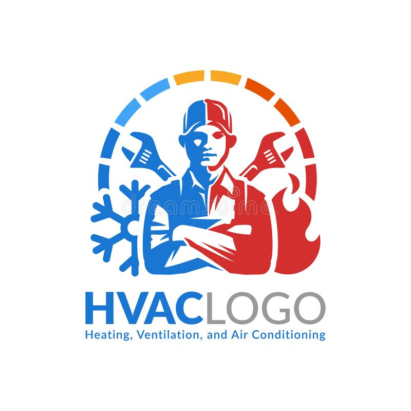 Free HVAC Logo Design, Heating Ventilation And Air Conditioning Logo Or Icon Template Royalty Free Stock Photos - 165380288