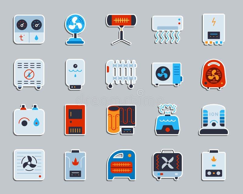 Hvac patch sticker icons vector set stock illustration