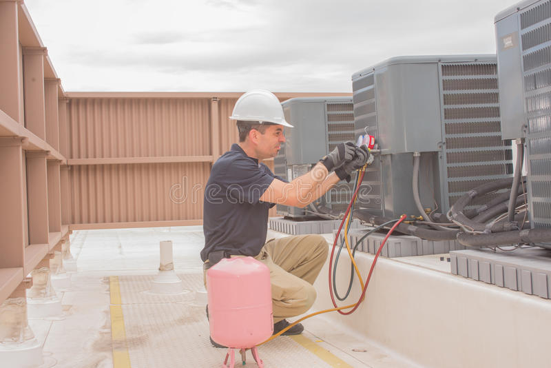 HVAC Technician Maintenance royalty free stock image