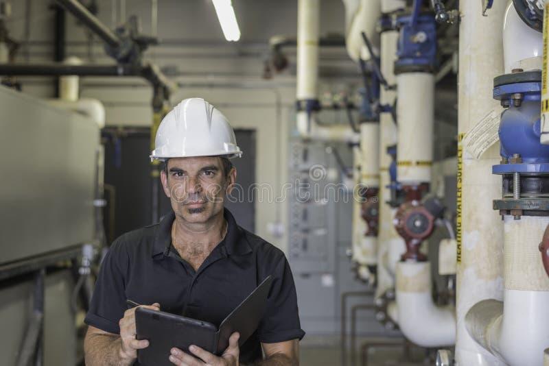 HVAC-technologie met Tablet stock fotografie