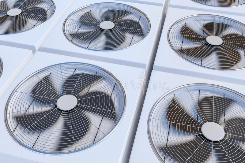 HVAC units heating, ventilation and air conditioning. 3D rendered illustration.  royalty free illustration
